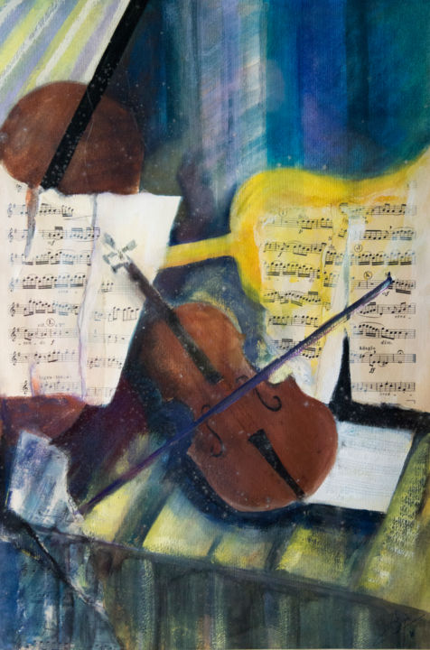 music music - Painting,  27.6x19.7 in, ©2018 by Irène Claval -                                                              musique