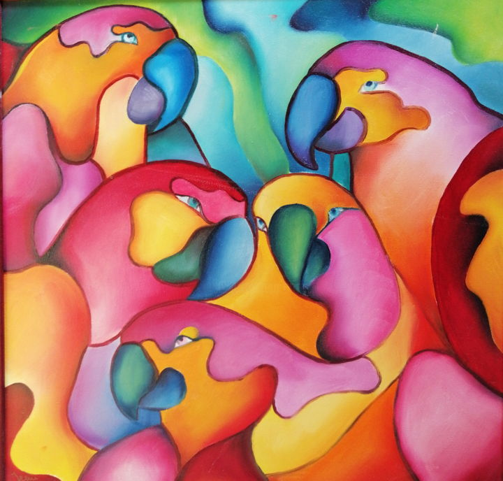 """Painting titled """"Perroquets"""" by irenemahon, Original Art, Oil"""