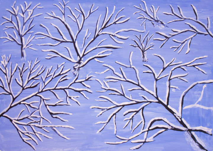 """Painting titled """"Branches in snow"""" by Irina Afonskaya, Original Art, Gouache"""