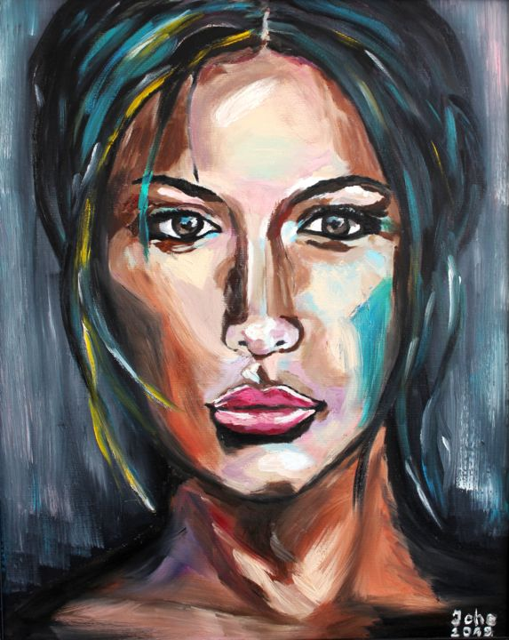 """Painting titled """"Beautiful and strong"""" by Irina Chernobay, Original Art, Oil Mounted on Stretcher frame"""