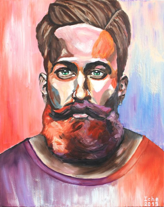 """Painting titled """"Hipster portrait"""" by Irina Chernobay, Original Art, Oil Mounted on Stretcher frame"""