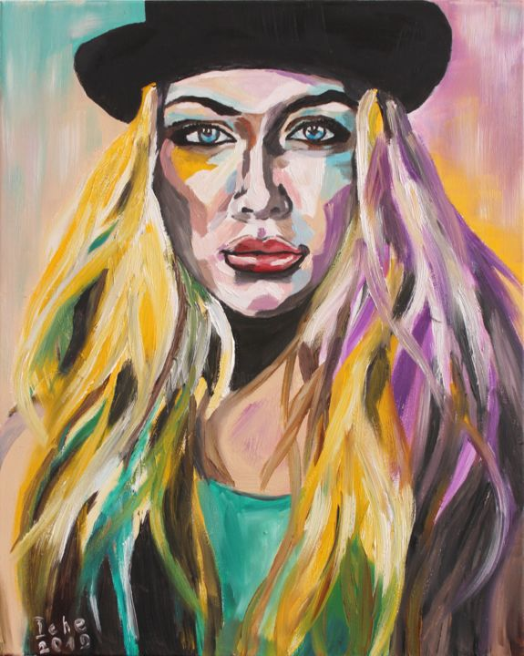 """Painting titled """"Blonde in black hat"""" by Irina Chernobay, Original Art, Oil Mounted on Stretcher frame"""