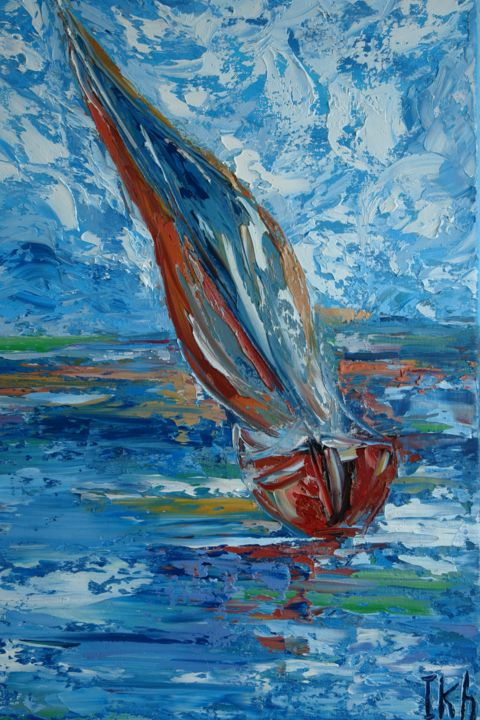 Sea storm, oil painting on canvas - © 2014 oil painting, palette knife, sea storm, sea, ocean, shipboat, landscape, abstract, contemporary, oleo, seascape painting, impressionism, fine art, modern art, impasto Online Artworks