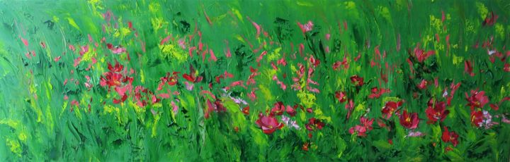 Poppies - Painting,  30x90x2 cm ©2018 by Iryna KHMELEVSKA -                                            Impressionism, Flower, oil painting, palette knife, oil on canvas, flowers, floral art, poppies, landscape, red poppies, impessionism