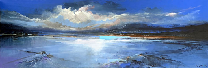 Blue evening - Painting,  11.8x35.4x1.6 in, ©2020 by Irina Laube -                                                                                                                                                                                                                                                                                                                                                                                                      Expressionism, expressionism-591, seascape, landscape, blue, colorful, irina laube, evening