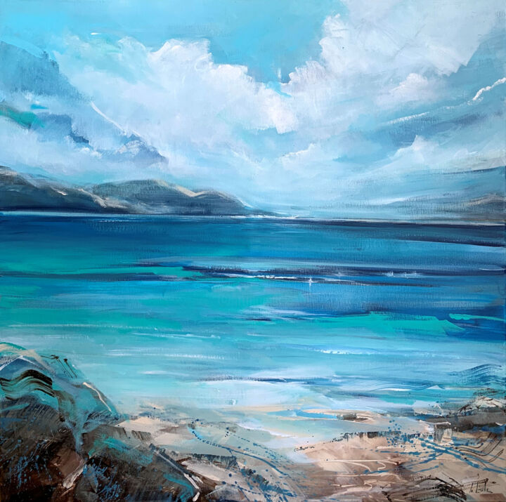 """Painting titled """"A bay in Italy"""" by Irina Laube, Original Art, Acrylic"""
