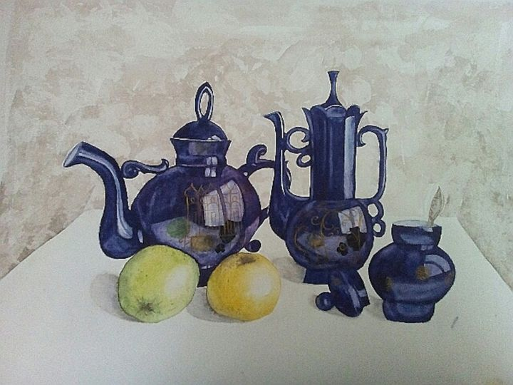 Tea, Coffee, Apples - Painting,  30x39 cm ©2018 by Ira Shu -                                                            Realism, Paper, Still life, Still-life, Traditional