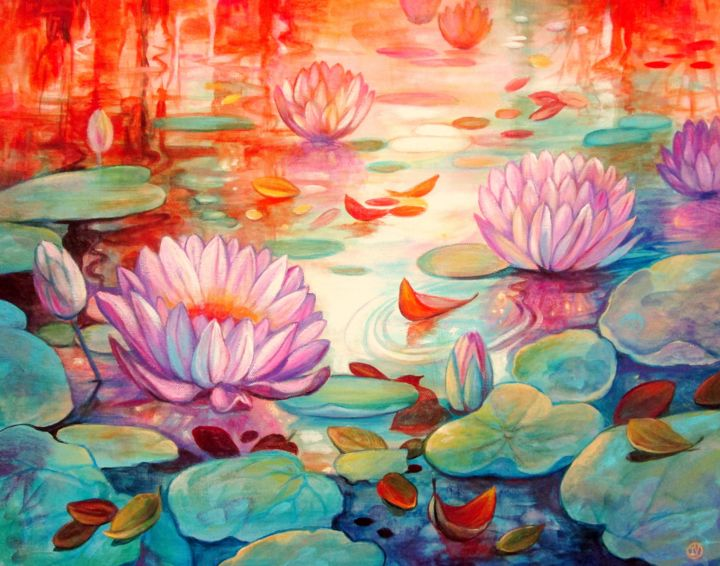 Lily Pond - Painting,  15.8x20.1x1.4 in, ©2017 by Irina Velman -                                                                                                                                                                                                                                                  Flower, Water lilies, lily pond, flowers, New Zealand