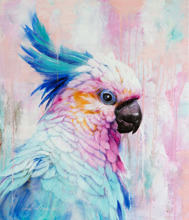 """Painting titled """"Portrait of a parrot"""" by Ira Volkova, Original Art, Oil"""