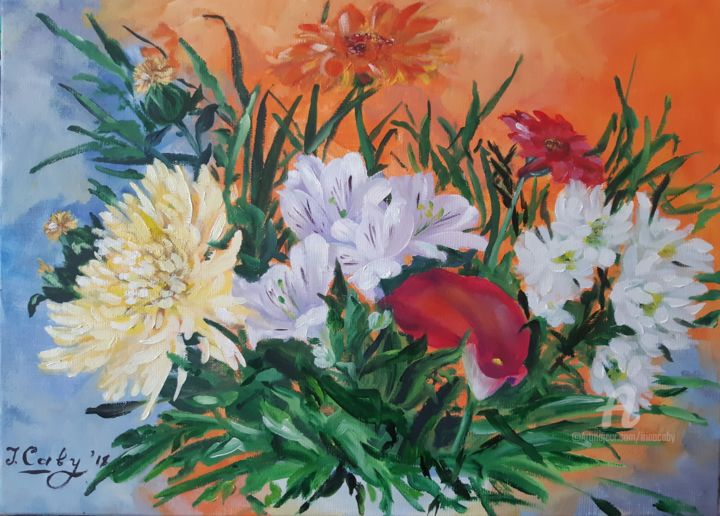Aout Orange Painting By Irina Caby Artmajeur
