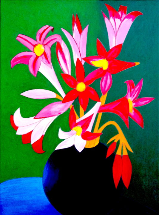 """Painting titled """"Magic Lilies In Vase"""" by Irina Rabeja, Original Art, Oil"""