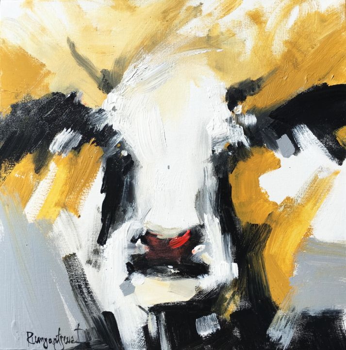 Cow C02N02 - Pittura,  16x16x0,2 in, ©2018 da Irina Rumyantseva -                                                                                                                                                                                                                                                                                                                                                                                                                                                                                                                                                                                                                                                                                                                                                                                                                                                                                                                                                                                                                                                                                                                                          Abstract, abstract-570, Animali, Mucche, Ritratti, cows, vache, art de vache, cow painting, cow art, cow artist, black and white cow, gold, gold cow, gold and silver, gold and grey, small cow painting, cow face, bull, horse, horse painting, horse art, bull art, bull painting