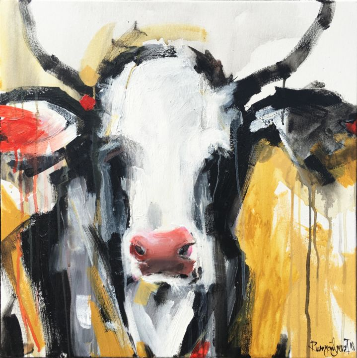 Cow C01N05 - Painting,  23.6x23.6x1.6 in, ©2018 by Irina Rumyantseva -                                                                                                                                                                                                                                                                                                                                                                                                                                                                                                                                                                                          Abstract, abstract-570, Animals, Cows, cow, vache, cow art, cow painting, paintings of cows, animals, gold, gold cow