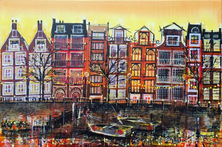 Amsterdam Setting Sun - © 2018 amsterdam painting, amsterdam art, amsterdam lights, red lights, holland art, duch painting, warm colors, canal, holland style Online Artworks