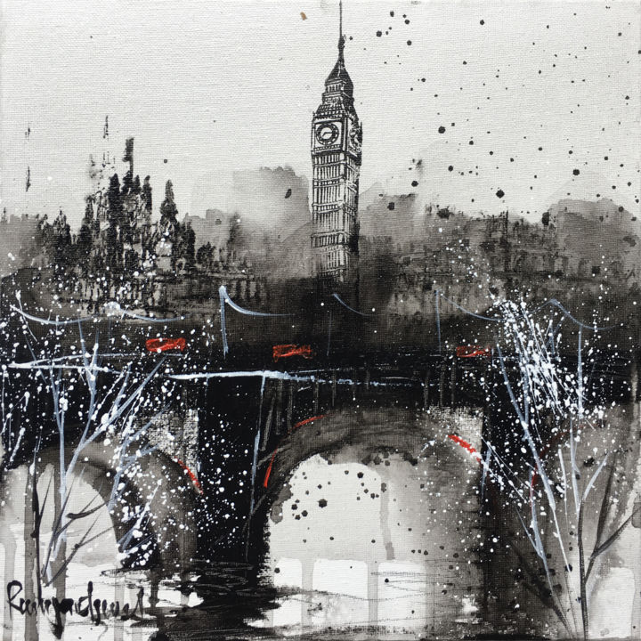 London Cityscape C01N01 - Painting,  30x30x0.2 cm ©2019 by Irina Rumyantseva -                                                                                Abstract Expressionism, Contemporary painting, Expressionism, Cities, Places, LONDON, london art, painting of london, big ben, elizabeth tower, houses of parliament, river thames, london artist, london black and white, westminster, westminster abbey, red buses, routemaster, london bridge