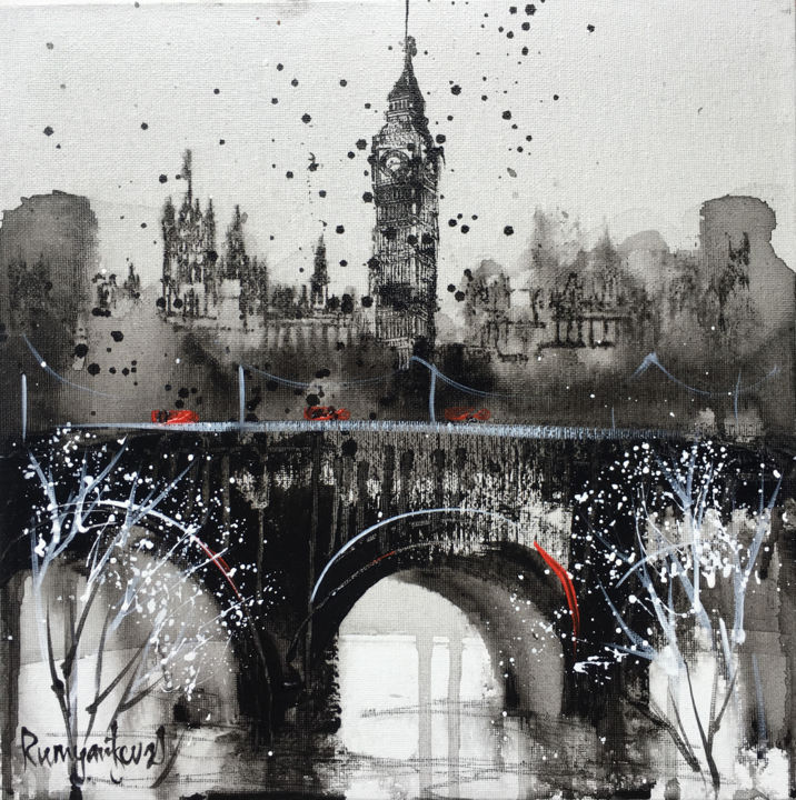 London Cityscape C01N03 - Painting,  30x30x0.2 cm ©2019 by Irina Rumyantseva -                                                        Abstract Expressionism, Cities, Cityscape, london, london cityscape, london skyline, london big ben, river thames, london painting, london art, houses of parliament, elizabeth tower, westminster, westminster abbey