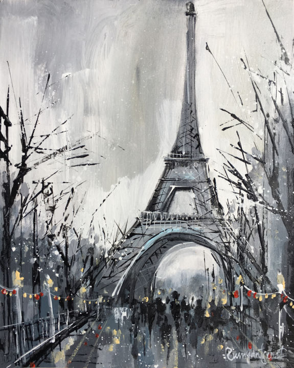 Paris C01N06 - Pittura,  16,1x13x0,1 in ©2019 da Irina Rumyantseva -                                                                                Arte astratta, Espressionismo astratto, Pittura contemporanea, Città, Luoghi, Paris, parisienne, eiffel tower, france, french cities, french city, cities in france