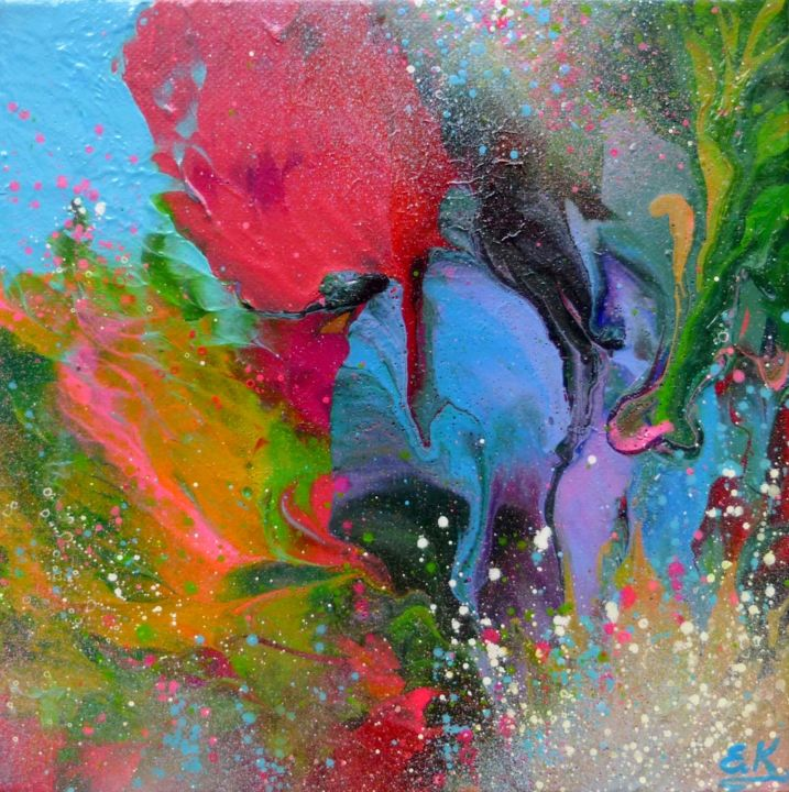 Abstract Small Painting Flowers Painting By Irini