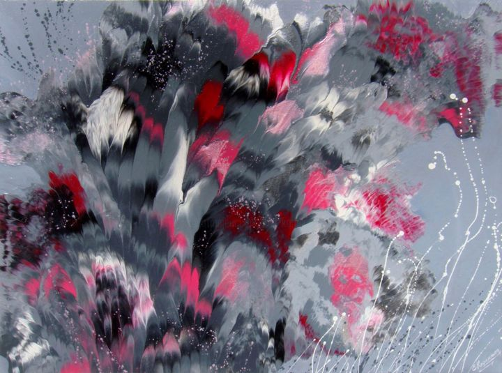 Pink and grey flowers abstract painting irini karpikioti pink and grey flowers abstract painting painting 60x80x35 cm mightylinksfo