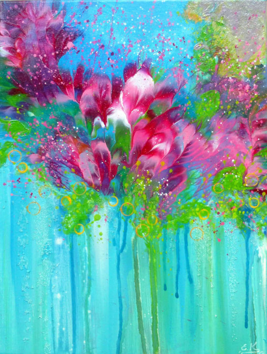 Floral Improbable Flowers Of Love Painting By Irini