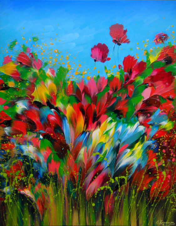 """""""Wildflowers"""" Abstract Landscape Painting - © 2019 poppies, red, florals, modern, wildflowers painting, wildflowers landscape, wildflowers field, poppy abstract, poppies painting, poppies art, painting for bedroom, multicolored flowers, floral botanical, colorful abstract, canvas wall art, acrylic painting, abstract painting, abstract flowers, abstract art, Abstract Landscape Painting Online Artworks"""