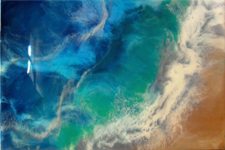 """Sea Wave"" Resin Large painting - Painting,  80x120x3.5 cm ©2019 by IRINI KARPIKIOTI -                                                                                                                                    Abstract Expressionism, Wood, Abstract Art, Beach, Colors, Landscape, Nature, Seascape, Water, art resin, abstract painting, resin abstract painting, turquoise sea, blue, landscape, large, ocean, sea, seascape, waves"