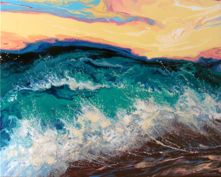 """Sunset over the sea"" Large Painting - © 2019 Sunset, Seascape Painting, Canvas Art, Abstract Sea, Ocean Art, Acrylic Fluid, Waves Art, Living Room Decor, Bedroom Art, Original Art, Painting on Canvas Online Artworks"