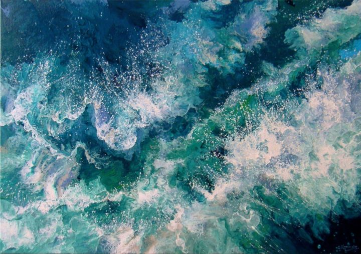 "Seascape ""Turquoise waves""  Large Painting - Painting,  70x100x3.5 cm ©2019 by IRINI KARPIKIOTI -                                                                                                                        Abstract Art, Abstract Expressionism, Canvas, Abstract Art, Landscape, Nature, Seascape, Water, Original Painting, ABSTRACT PAINTING, Seascape, Ocean Waves, Sea, Painting on Canvas, Landscape painting, White Waves, Turquoise Sea, Blue Sea"