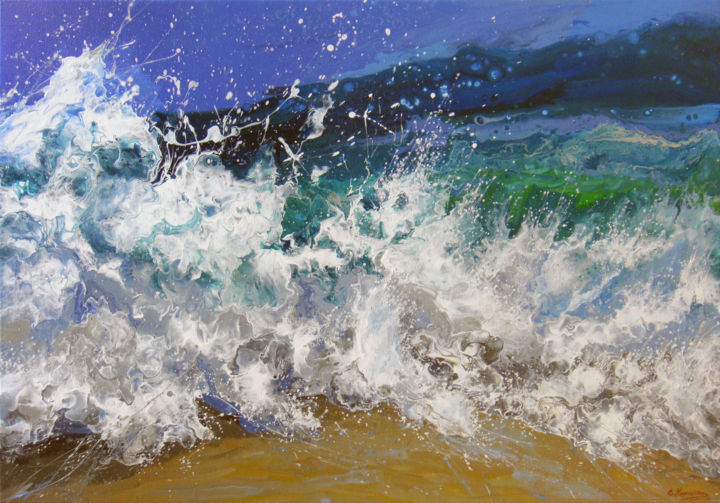 """""""Waves in the Sea"""" Large Painting - © 2019 Waves Painting, Sea Waves, LARGE painting, Original Fine Art, Acrylic Painting on canvas, Beach Home Decor, blue painting, Landscape sea, ocean wave Painting, canvas Art, Large Beach Painting, Coastal Art, Nautical Decor, Tropical Beach, Housewarming Gift, Seascape Art, Waves in the Sea, Island Painting, Ocean Surf Art Online Artworks"""
