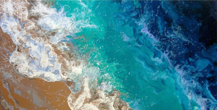"""""""Sea waves"""" Large Painting - Painting,  60x120x3.5 cm ©2019 by IRINI KARPIKIOTI -                                                                                                                    Abstract Art, Abstract Expressionism, Expressionism, Beach, Landscape, Nature, Seascape, Water, Sea Beach, Large Painting, Seascape Painting, Coast Painting, Blue Sea Painting, Beach Painting, Nautical Painting, Coastal waves, Sea wave, Turquoise waves, Ocean Art, Waves Art, Fluid Acrylic, Hand Painted, Country Home Decor"""