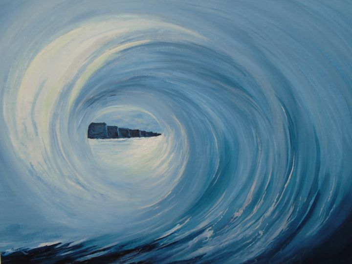 """Painting titled """"Surf's up at the Cl…"""" by Conor Murphy, Original Art, Acrylic Mounted on Stretcher frame"""