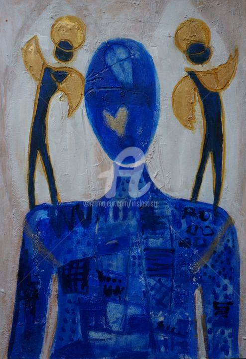 """Painting titled """"Confinement aux ang…"""" by Iris, Original Art, Acrylic"""