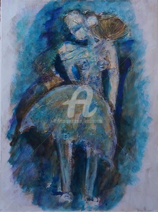 Tutu in blue - Painting,  15.8x11.8 in, ©2015 by Iris -                                                              Abstract Art