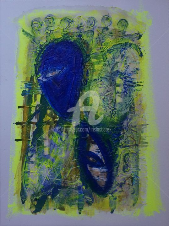 Noix de coco - Painting,  40x30 cm ©2016 by Iris -                                        Contemporary painting, Abstract Art