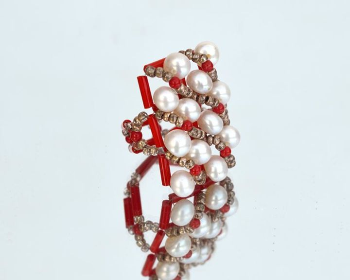 Red and white statement ring - Design, ©2007 by Ira Zelickman -                                                                                                                                                                                                                                                                                          bold ring, statement ring, red and white ring, white and red ring, pearls ring, red and whote jewelry
