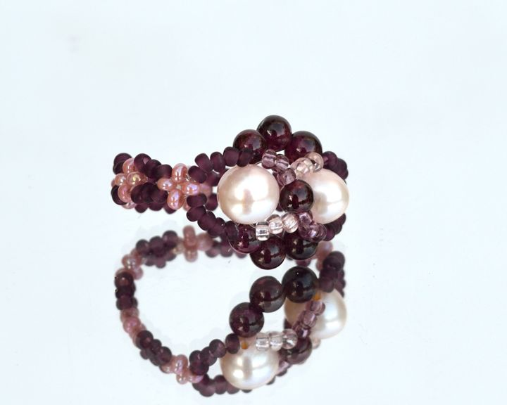 Pearls and garnet ring - Design, ©2011 by Ira Zelickman -                                                                                                                                                                                                                                              red and pink ring, garnet ring, pearl ring, beaded ring, bead art jewelry