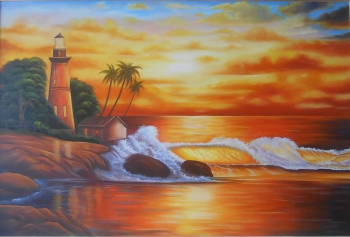 Por do Sol - Painting,  23.6x31.5x0.8 in, ©2017 by irlyson -                                                                                                                                                                                                                                                                                              Places, Nature, Landscape, Beach, Water, Por do Sol