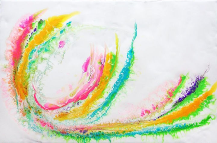 """Painting titled """"Color Blast Winds"""" by Irmi Harlander, Original Art, Acrylic Mounted on Stretcher frame"""
