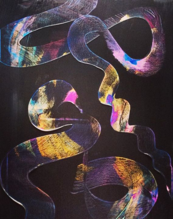 """Painting titled """"Ribbon Dance"""" by Irmi Harlander, Original Art, Acrylic Mounted on Stretcher frame"""