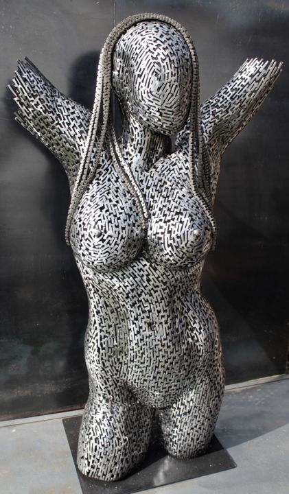 The rise of the Glimmering - Sculpture,  42.5x23.5x12 in ©2018 by Scott Wilkes -                                                            Figurative Art, Metal, Body, metal, sculpture, woman, nude, female, witch, technology, modern, contemporary, scott, wilkes