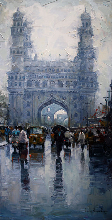 charminar-wet-st - Painting,  36x18 in ©2015 by Iruvan karunakaran -                                                                                    Impressionism, Canvas, Landscape, People, Places, charminar, hyderabad, knife painting