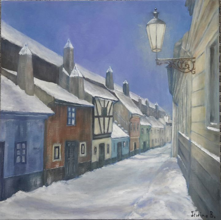 La Ruelle d'Or - Painting,  60x60 cm ©2015 by Irwine B. -                                                                                    Figurative Art, Canvas, Places, Landscape, Cities, Prague, rue, nuit, hiver, neige, lumière, Ruelle d'Or, Hradkany, boutique