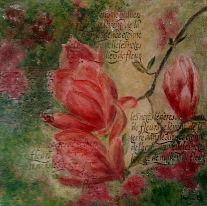 magnolias.jpg - Painting,  50x50 cm ©2016 by Irwine B. -                                                            Figurative Art, Canvas, Flower, Magnolias, Rose, Vert, Jaune