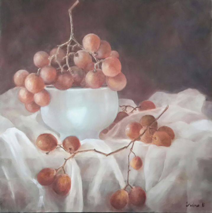Grappes - Painting,  60x60 cm ©2017 by Irwine B. -                                                            Figurative Art, Canvas, Still life, Raisin, Grappe