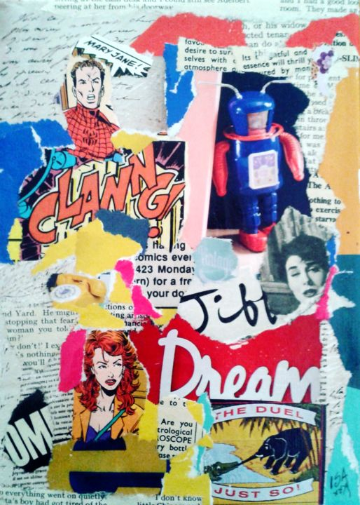 dream.jpg - Mixed Media,  18x13 cm ©2016 by Isabelle Blondel (ISA) -                                                            Pop Art, Canvas, Pop Culture / celebrity, collage pop art