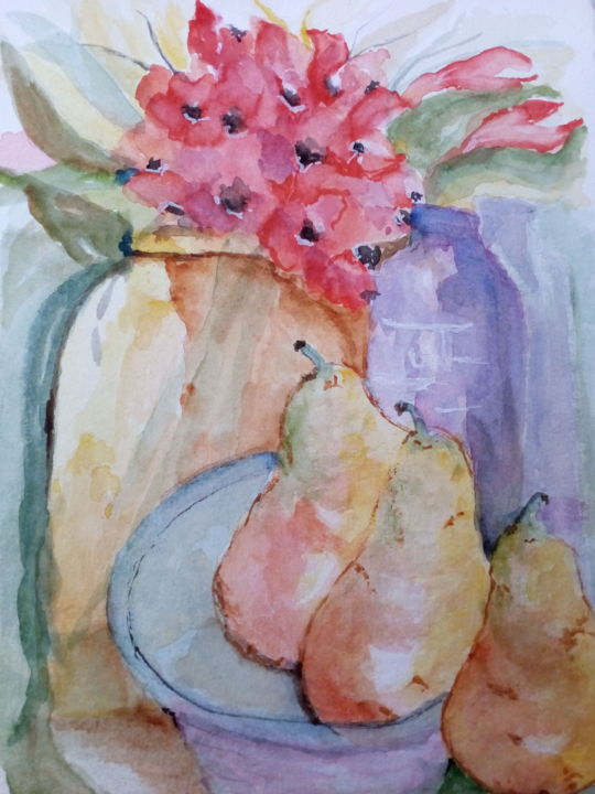 Pêras - ©  fruit, pears, bottles, floral, flowers Online Artworks