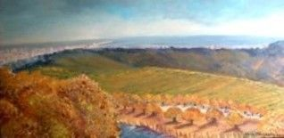 Outono na Serra / Autum on the mountain - Painting,  15.8x31.5x0.4 in, ©2006 by Isabel Alfarrobinha -