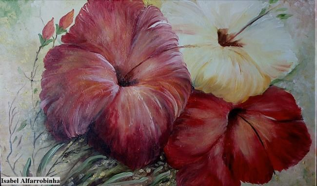Hibiscos II - Painting,  23.6x39.4 in, ©2009 by Isabel Alfarrobinha -                                                                                                                                                                          Figurative, figurative-594, oil painting of flowers