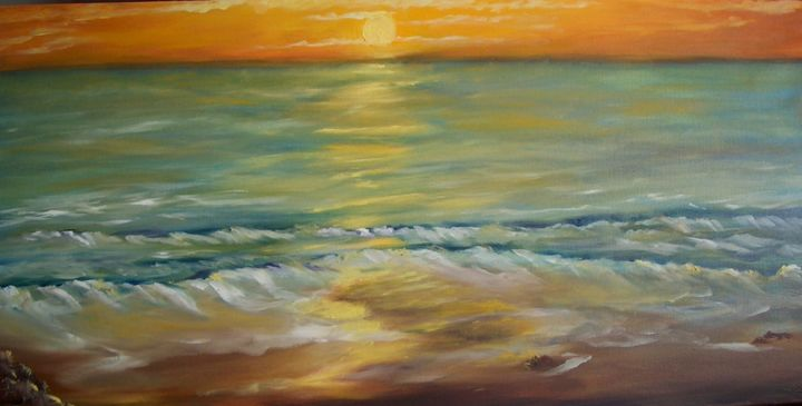 Sunset / pôr-do-Sol - Painting,  15.8x31.5 in, ©2010 by Isabel Alfarrobinha -                                                                                                                                                                                                                                                                                                                                                                                                                                                                                                                                              Impressionism, impressionism-603, Seascape, oil paintihg of a sunset, sun, sea, ocean, afternoon, blue, orange, art