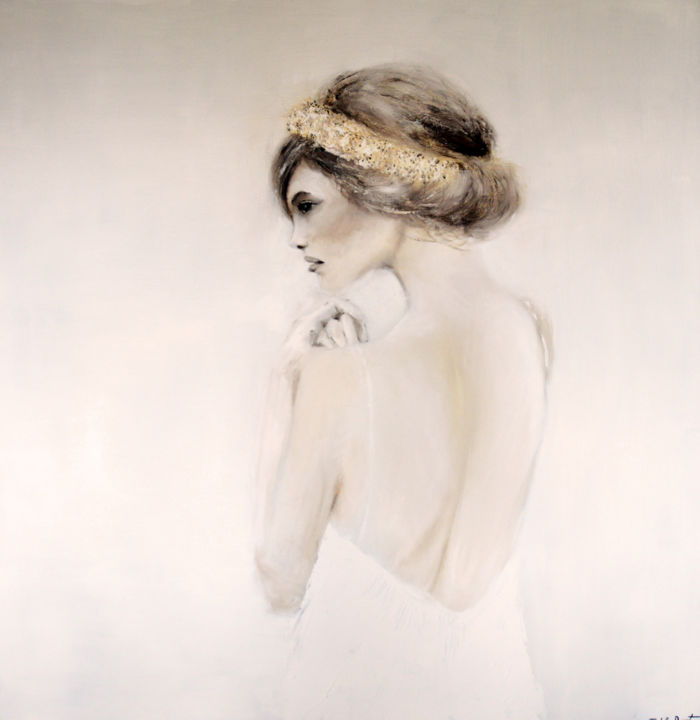 soft - Painting,  59.1x59.1x1.8 in, ©2016 by Isabelle Bossuyt -                                                                                                                                                                          Figurative, figurative-594, Women